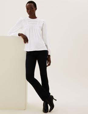 Kadın Beyaz Saf Pamuklu Fırfır Detaylı Bluz