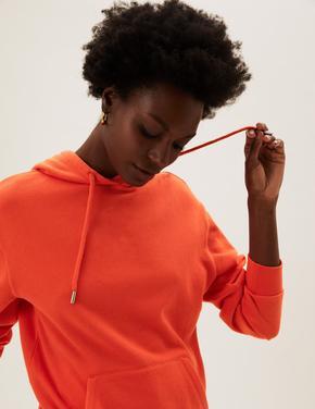 Kadın Turuncu Uzun Kollu Kapüşonlu Sweatshirt