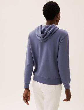 Kadın Mavi Uzun Kollu Kapüşonlu Sweatshirt