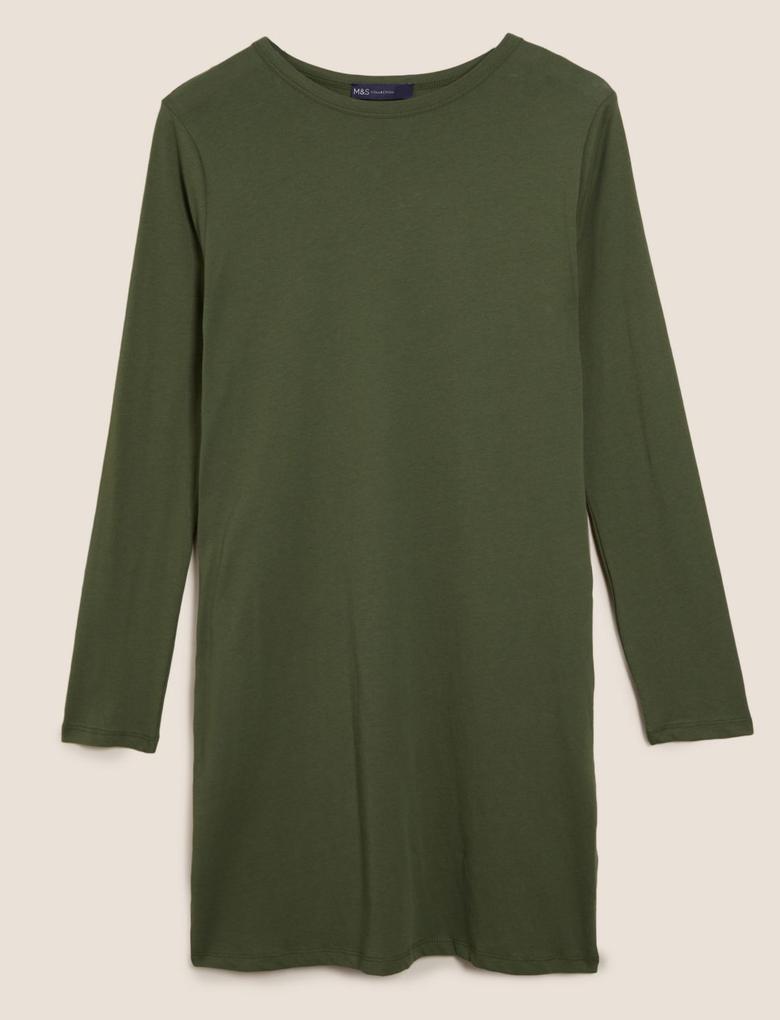 Kadın Yeşil Saf Pamuklu Uzun Kollu Mini T-Shirt Elbise