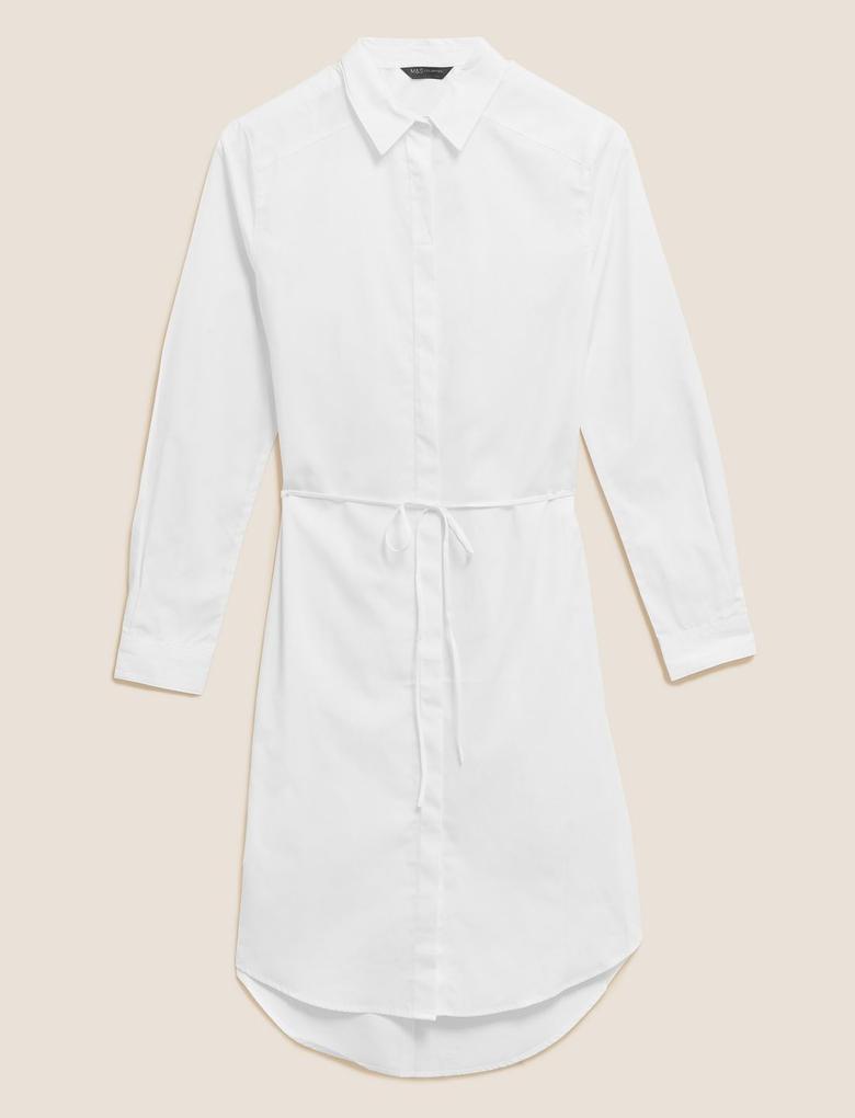 Kadın Beyaz Pamuklu Gömlek Elbise