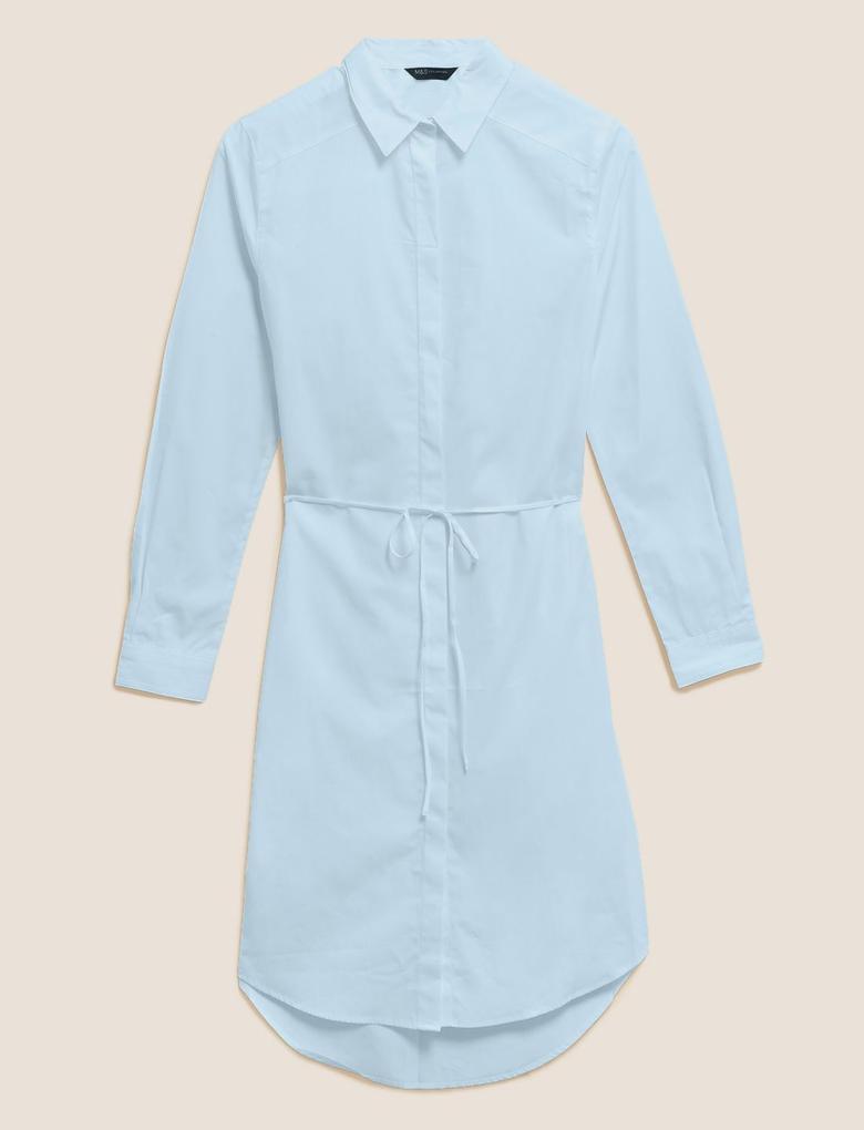 Kadın Mavi Pamuklu Gömlek Elbise