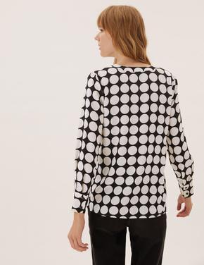 Kadın Siyah Puantiyeli Desenli Bluz
