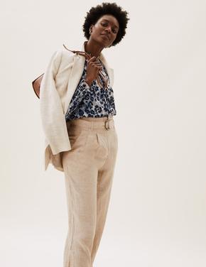 Kadın Kahverengi Leopar Desenli Bluz