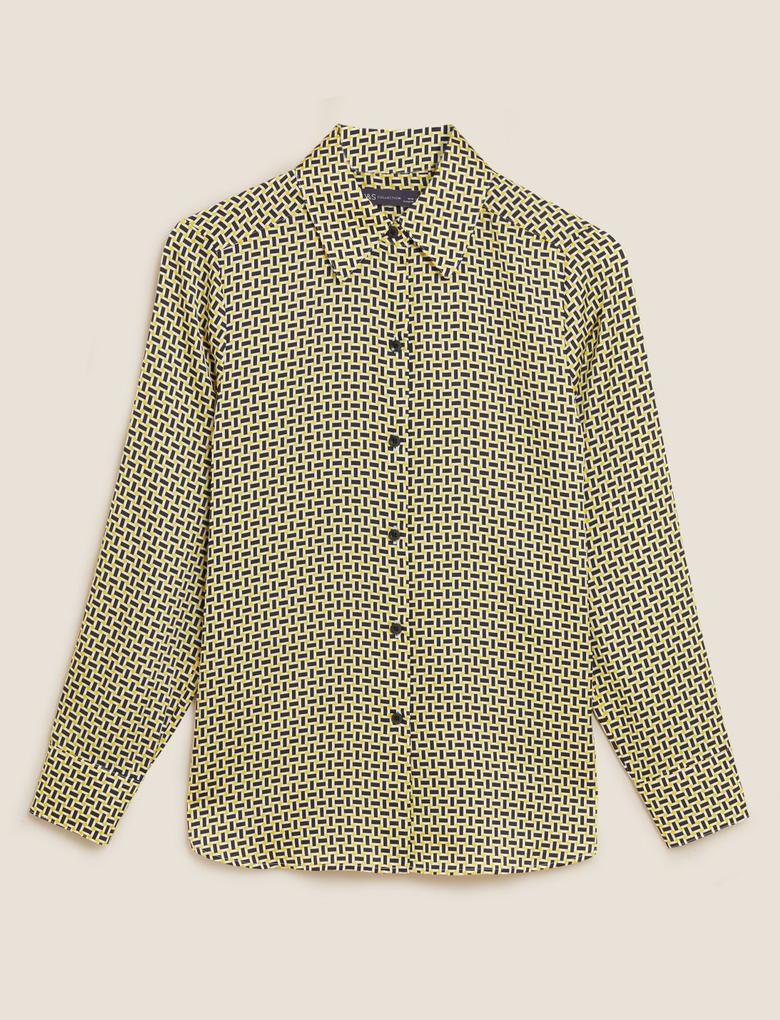 Kadın Sarı Geometrik Desenli Saten Gömlek