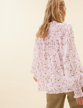 Kadın Pembe Çiçek Desenli Uzun Kollu Bluz