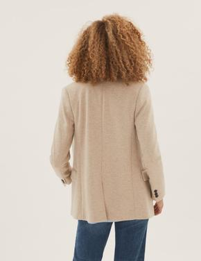 Kadın Bej Relaxed Fit Blazer Ceket