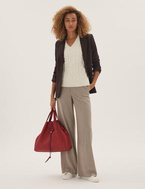 Kadın Kahverengi Relaxed Fit Blazer Ceket