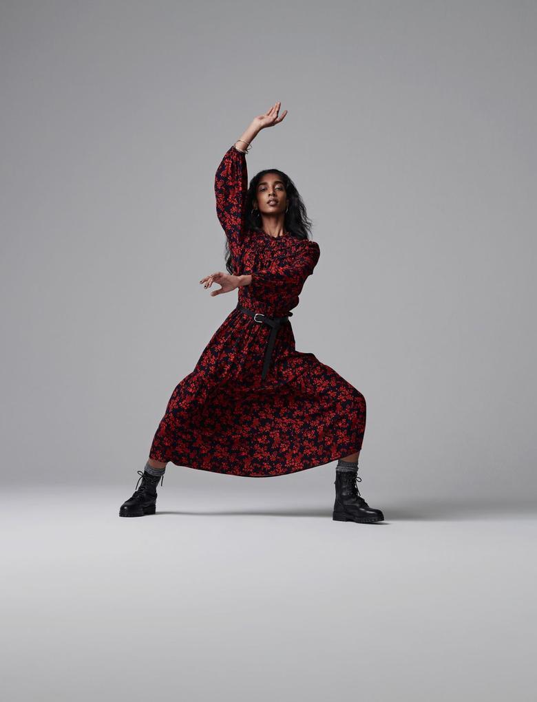 Kadın Kırmızı Çiçek Desenli Midi Elbise