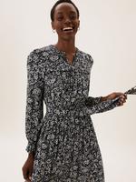 Kadın Lacivert Çiçek Desenli Midi Elbise