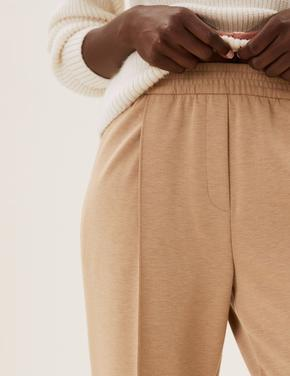 Kadın Kahverengi Tapered Fit Örme Pantolon