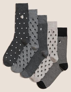 Erkek Gri 5'li Cool & Fresh™ Çorap Seti