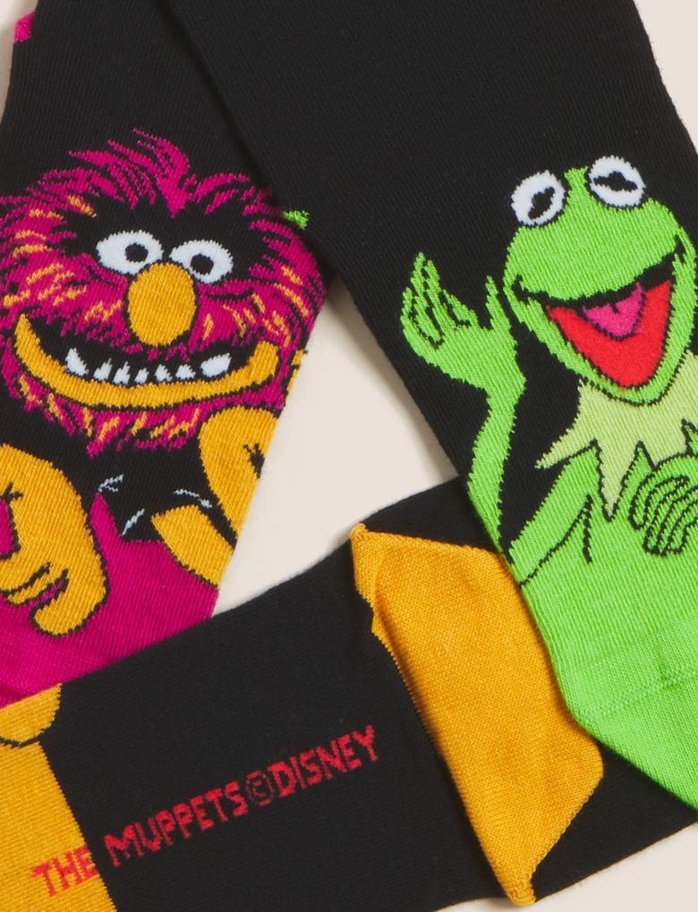 Erkek Siyah 5'li The Muppets™ Çorap Seti