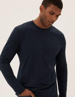 Erkek Lacivert Saf Pamuklu Uzun Kollu 3'lü T-Shirt Seti