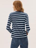 Kadın Lacivert Saf Pamuklu Çizgili T-Shirt