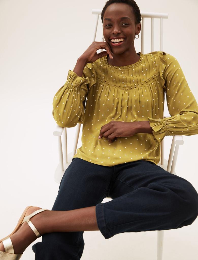 Kadın Sarı Çiçek Desenli Uzun Kollu Bluz