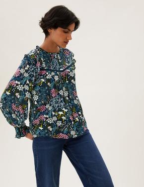 Kadın Multi Renk Çiçek Desenli Uzun Kollu Bluz