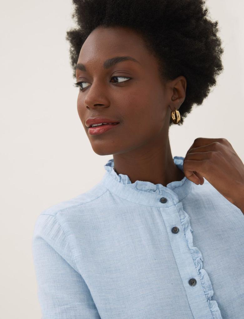 Kadın Mavi Fırfır Detaylı Uzun Kollu Gömlek