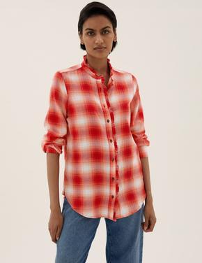 Kadın Kırmızı Fırfır Detaylı Kareli Gömlek