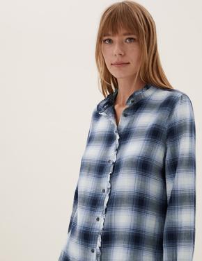 Kadın Mavi Fırfır Detaylı Kareli Gömlek