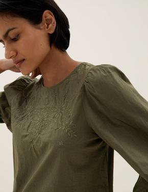 Kadın Yeşil Saf Pamuklu İşleme Detaylı Bluz