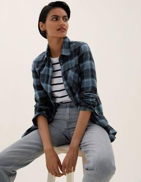 Kadın Mavi Regular Fit Kareli Gömlek