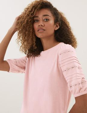 Kadın Pembe Saf Pamuklu Dantel Detaylı T-Shirt