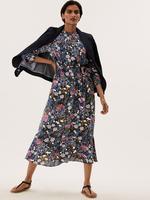 Kadın Siyah Çiçek Desenli Midi Elbise