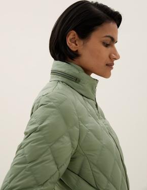 Kadın Yeşil Hafif Kaz Tüyü Puffer Şişme Mont