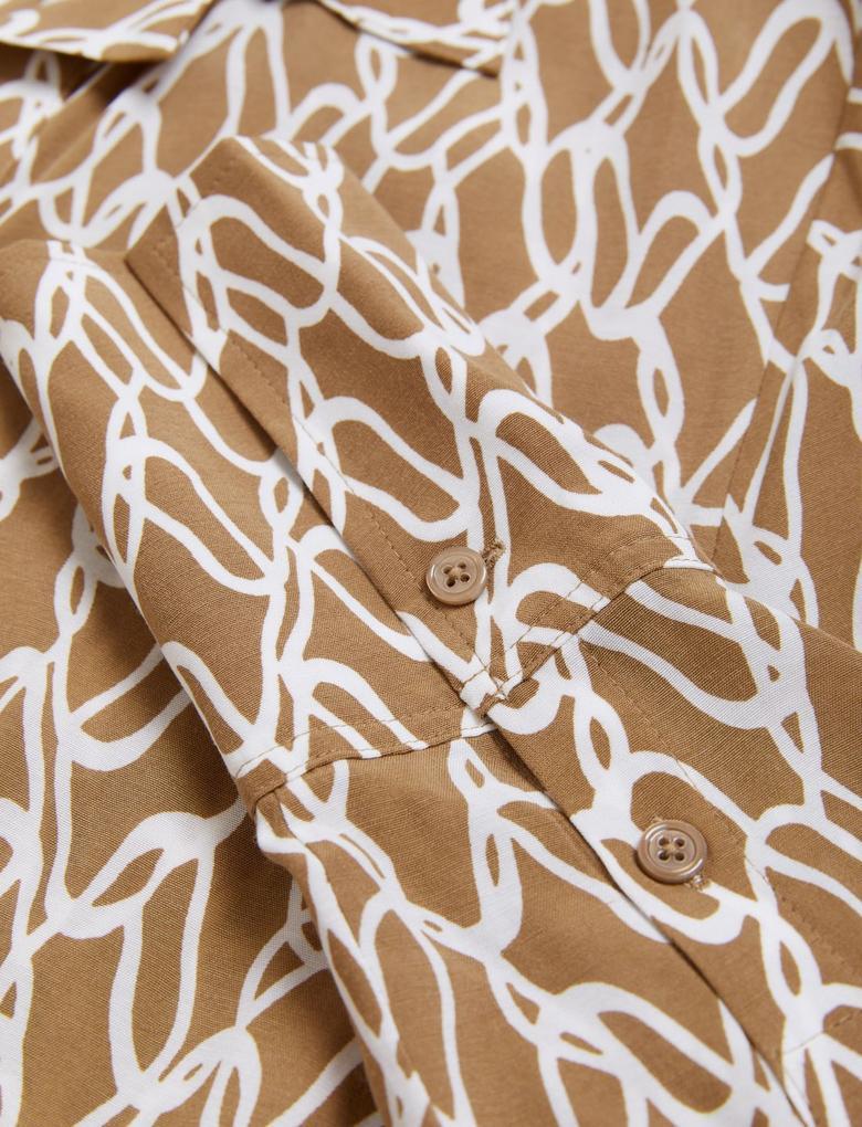 Kadın Bej Kuşaklı Midi Gömlek Elbise