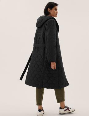 Kadın Siyah Kuşaklı Puffer Şişme Mont