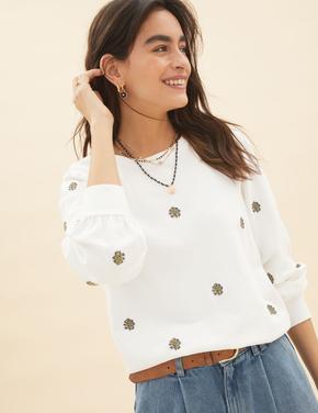 Kadın Krem Saf Pamuklu İşleme Detaylı Sweatshirt