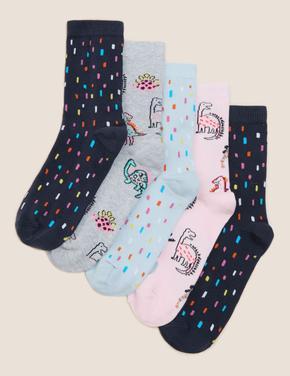 Çocuk Multi Renk 5'li Dinozor Desenli Çorap