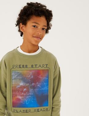 Erkek Çocuk Gri Grafik Desenli Sweatshirt (6-16 Yaş)