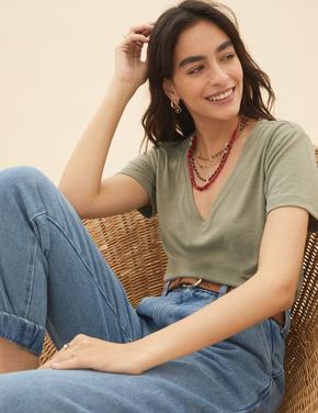 Kadın Yeşil V Yaka Modal T-Shirt