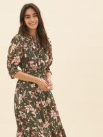 Kadın Yeşil Çiçek Desenli Midi Elbise