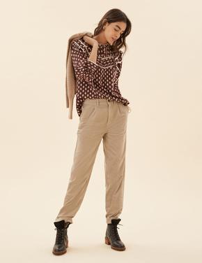 Kadın Renksiz Tapered Fit Kadife Pantolon