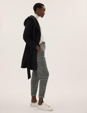 Kadın Siyah Kareli Tapered Fit Jogger Pantolon