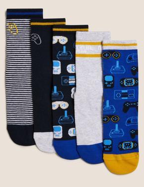 Çocuk Multi Renk 5'li Oyun Desenli Çorap