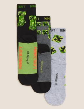 Çocuk Multi Renk 3'lü Minecraft™ Temalı Pamuklu Çorap Seti