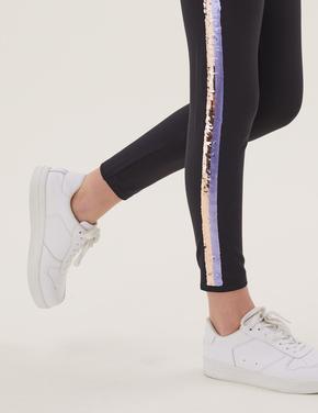 Kız Çocuk Gri Pullu Şerit Detaylı Legging Tayt (6-16 Yaş)