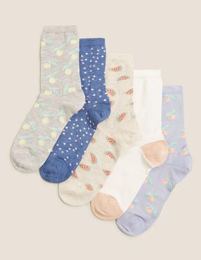 Kadın Mavi 5'li Grafik Desenli Çorap Seti