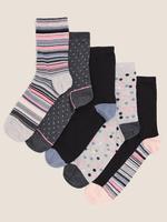 Kadın Gri 5'li Grafik Desenli Çorap Seti