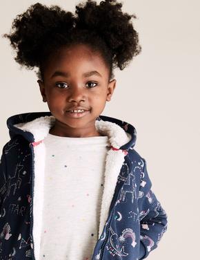 Kız Çocuk Lacivert Unicorn Desenli Kapüşonlu Sweatshirt (2-7 Yaş)