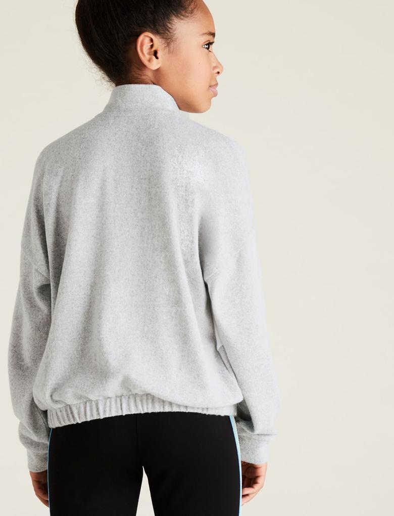 Kız Çocuk Gri Yarım Fermuarlı Sweatshirt (6-14 Yaş)