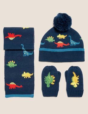 Çocuk Lacivert Dinozor Desenli Atkı, Bere ve Eldiven Takımı