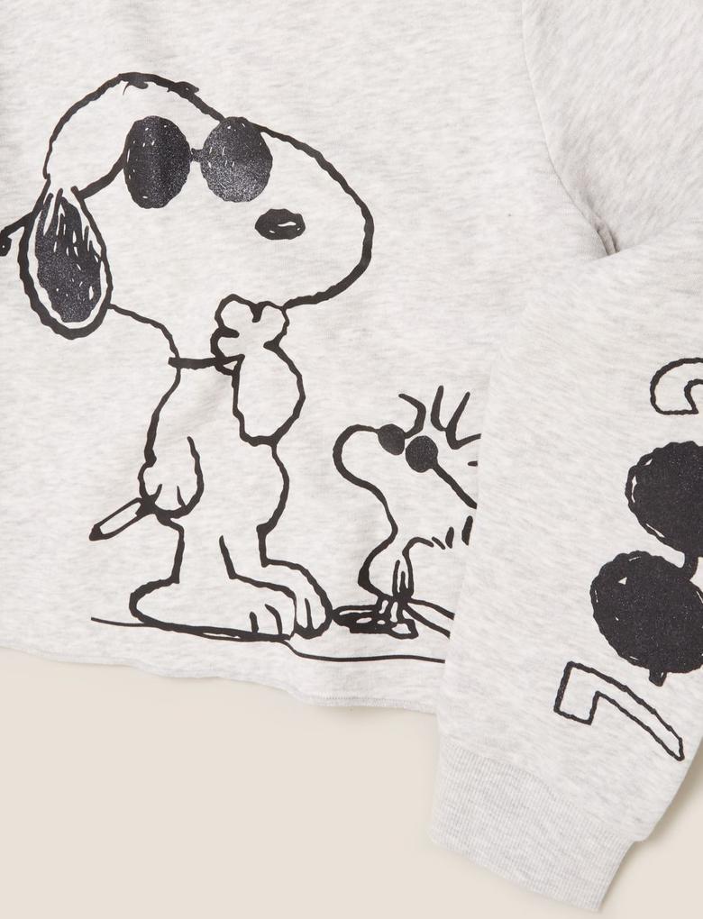 Kız Çocuk Gri Snoopy™ Yuvarlak Yaka Sweatshirt (6-14 Yaş)