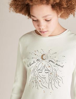 Kız Çocuk Krem Simli Uzun Kollu T-Shirt (6-14 Yaş)