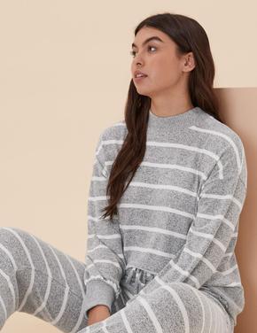 Kadın Gri Çizgili Cosy Pijama Üst