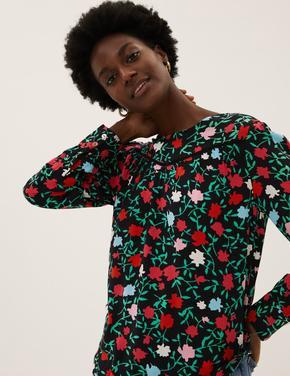 Kadın Siyah Çiçek Desenli Uzun Kollu Bluz